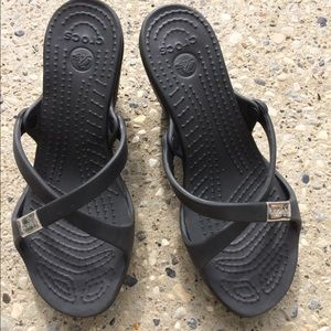 "Crocs dark gray 3.5"" heel with cross straps size 8"